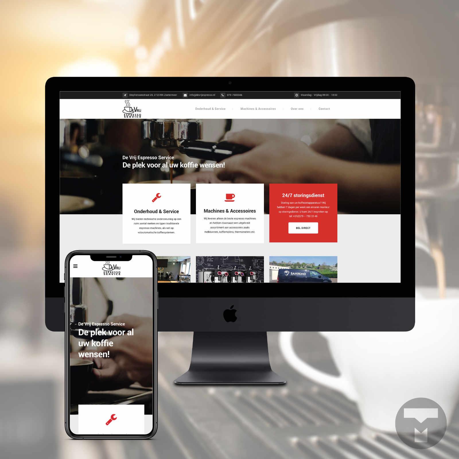 Website voor De Vrij Espresso Service